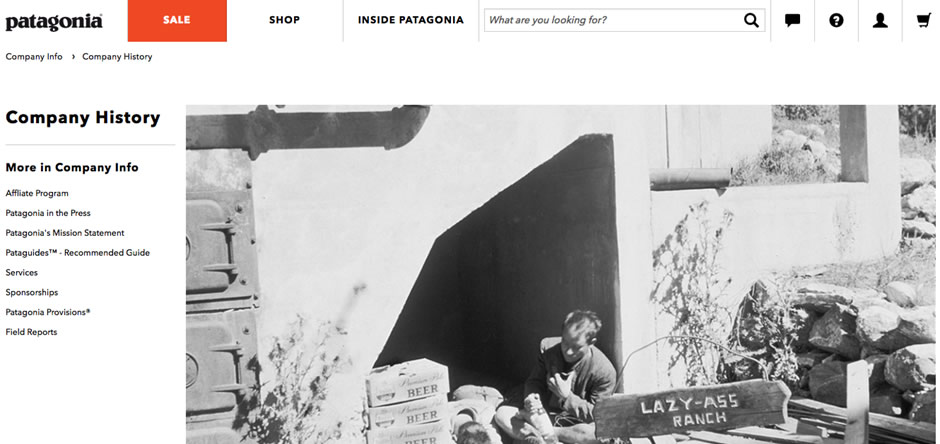 パタゴニア webサイト