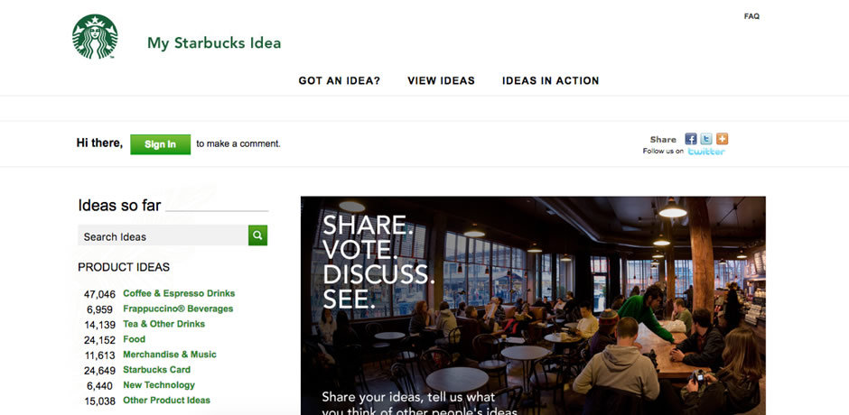 My Starbucks Idea webサイト