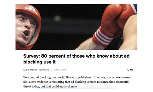 DIGIDAY「Survey: 80 percent of those who know about ad blocking use it」